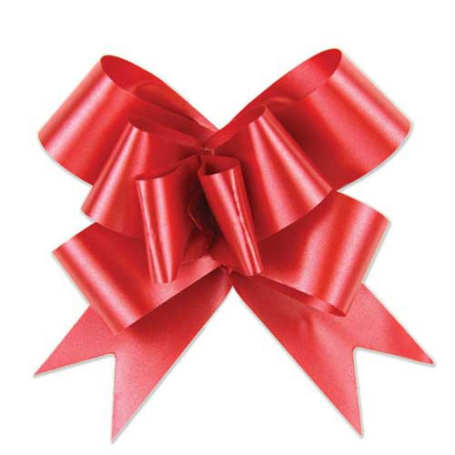 4-1/2 RED SATIN BUTTERFLY PULL BOWS