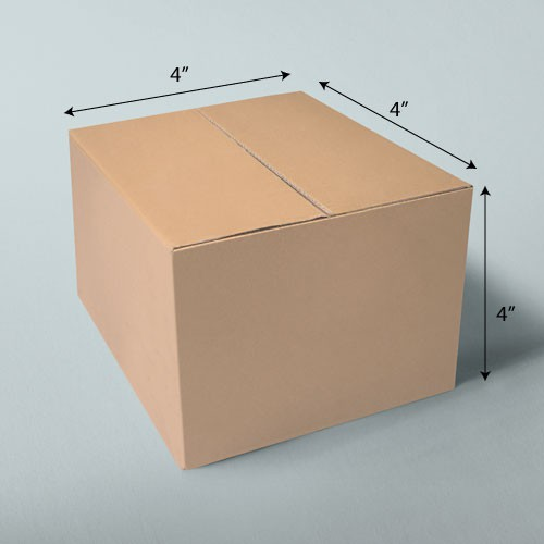 4 x 4 x 4 NATURAL KRAFT CORRUGATED SHIPPING BOXES