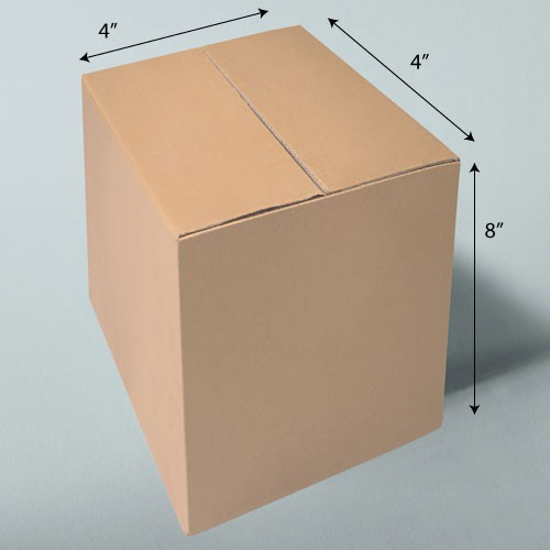 4 x 4 x 8 NATURAL KRAFT CORRUGATED SHIPPING BOXES