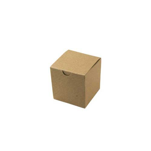 3 x 3 x 3 NATURAL KRAFT PINSTRIPE TUCK-TOP GIFT BOXES