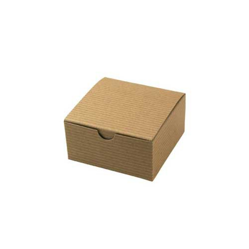 4 x 4 x 2 NATURAL KRAFT PINSTRIPE TUCK-TOP GIFT BOXES