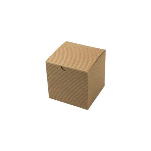 4 x 4 x 4 NATURAL KRAFT PINSTRIPE TUCK-TOP GIFT BOXES