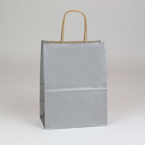 8 x 4.75 x 10.50 SILVER METALLIC PAPER SHOPPING BAGS ***LIMITED AVAILABILITY***