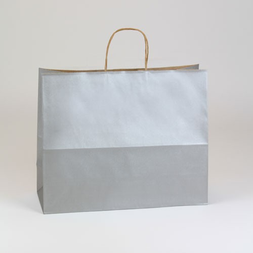 16 x 6 x 13 SILVER METALLIC PAPER SHOPPING BAGS ***LIMITED AVAILABILITY***
