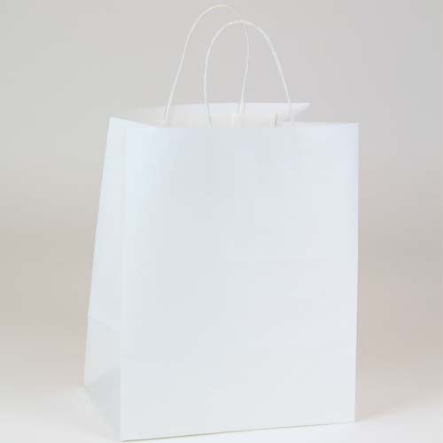10 x 7 x 12 ECONOMY WHITE KRAFT PAPER SHOPPING BAGS