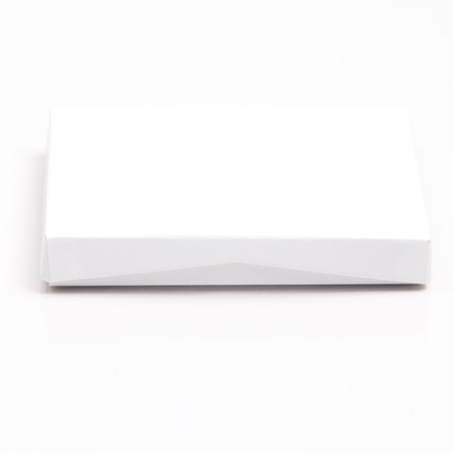 4-5/8 x 3-3/8 x 5/8 WHITE LINEN GIFT CARD BOX WITH GOLD POP-UP INSERT