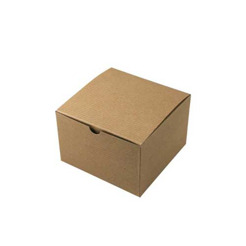 6 x 6 x 4 NATURAL KRAFT PINSTRIPE TUCK-TOP GIFT BOXES