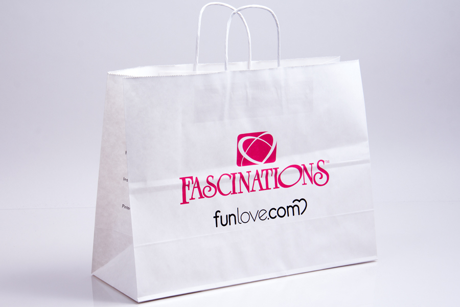 Custom ink printed paper shopping bags - Fascinations