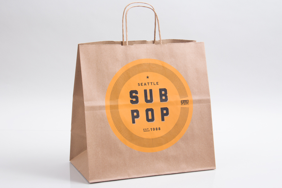 Custom printed natural kraft ink printed paper shopping bags - Subpop Records