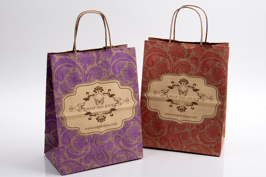 Custom paper shopping bags, ink printed with pantone inks