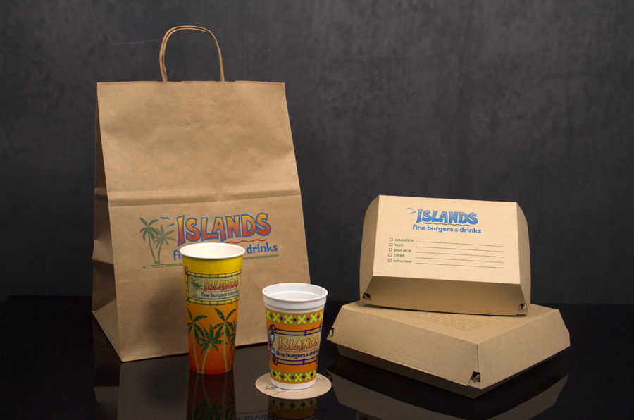 Custom Printed Restaurant Take-out Bags, Cups and Packaging - Islands Restaurants