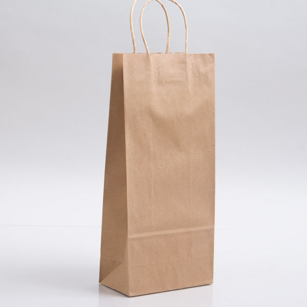 5.75 x 3.25 x 13 ECONOMY NATURAL KRAFT PAPER SHOPPING BAGS
