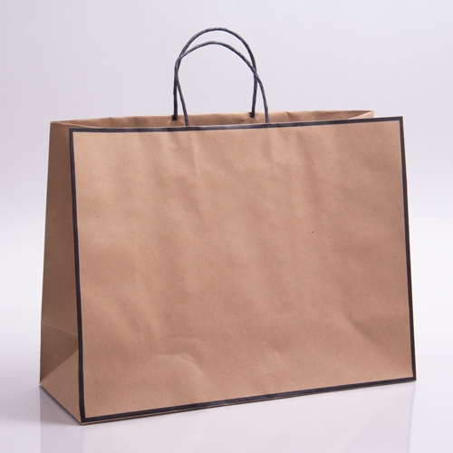16 x 6 x 12 CHELSEA KRAFT & BLACK PAPER SHOPPING BAGS