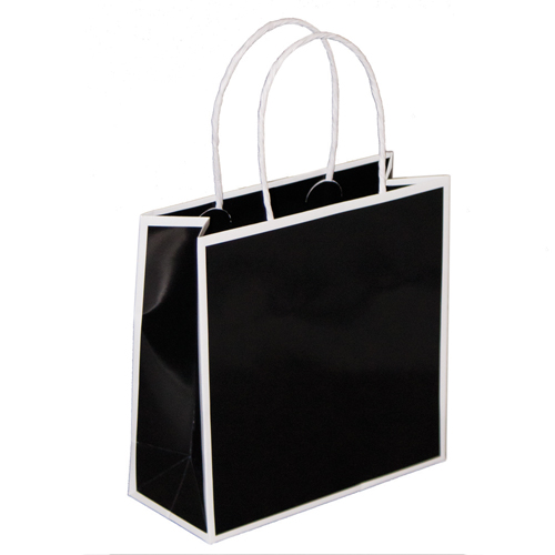 7 x 3 x 7 BLACK WITH WHITE TRIM PAPER SHOPPING BAGS
