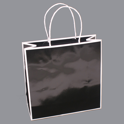 10 x 4 x 10 BLACK WITH WHITE TRIM PAPER SHOPPING BAGS