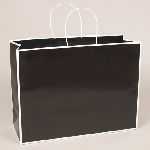 16 x 6 x 12 BLACK WITH WHITE TRIM PAPER SHOPPING BAGS