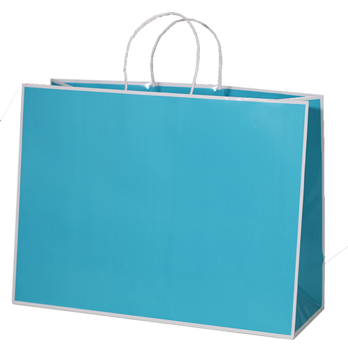 16 x 6 x 12 TURQUOISE WITH WHITE TRIM PAPER SHOPPING BAGS