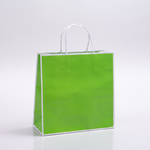 10 x 4 x 10 CITRUS GREEN & WHITE PAPER SHOPPING BAGS