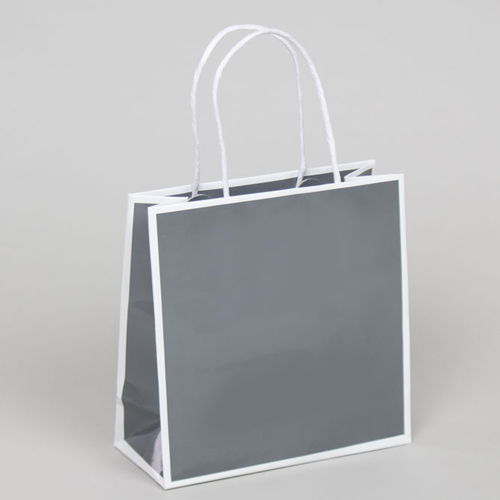 7 x 3 x 7 SLATE GRAY & WHITE PAPER SHOPPING BAGS
