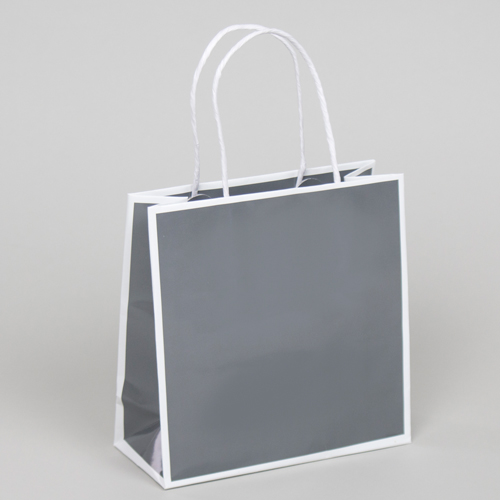 10 x 4 x 10 SLATE GRAY & WHITE PAPER SHOPPING BAGS