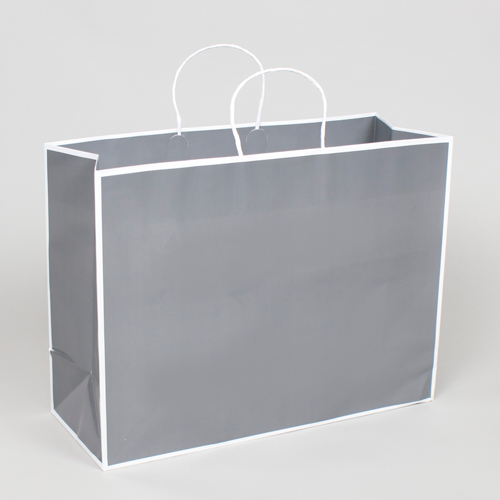16 x 6 x 12 SLATE GRAY & WHITE PAPER SHOPPING BAGS