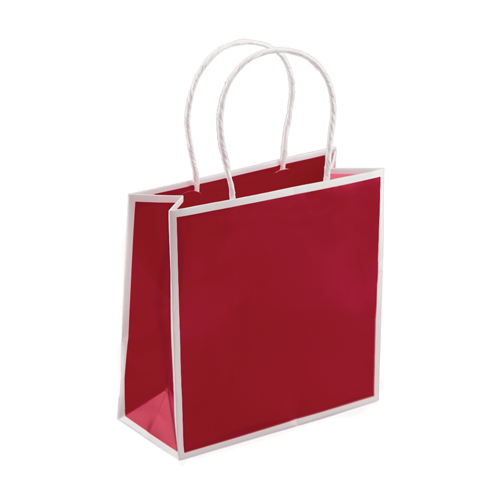 7 x 3 x 7 RED & WHITE PAPER SHOPPING BAGS