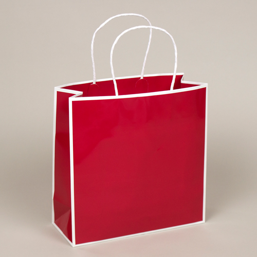 10 x 4 x 10 RED & WHITE PAPER SHOPPING BAGS