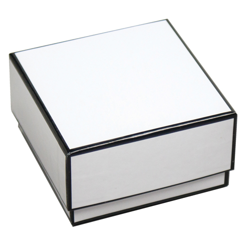 3 x 3 x 1.25 WHITE WITH BLACK TRIM JEWELRY BOX