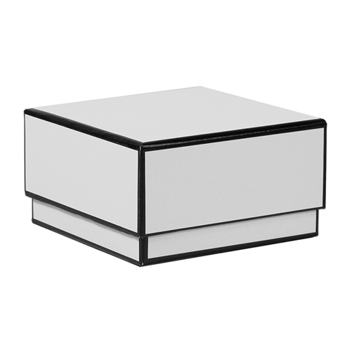 3.5 x 3.5 x 2 WHITE WITH BLACK TRIM JEWELRY BOXES