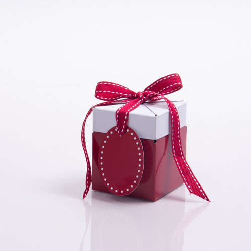 3 x 3 x 3.25 RED & WHITE RIBBON TIED GIFT BOXES