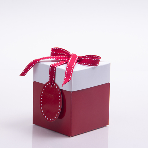 4 x 4 x 4.75 RED & WHITE RIBBON TIED GIFT BOXES