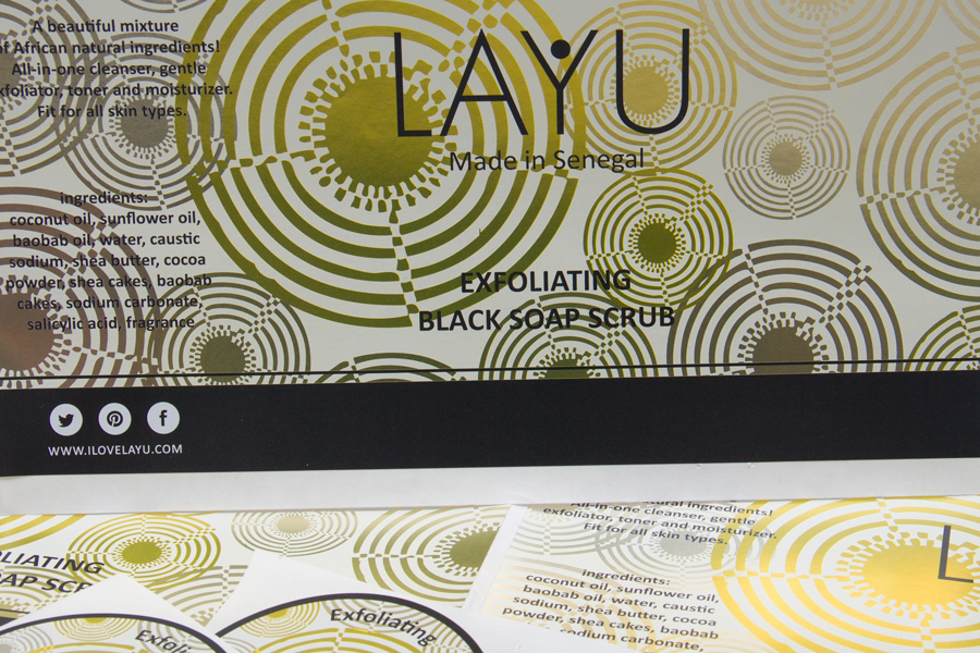 Custom Foil Stamped Product Labels - Layu Senegal