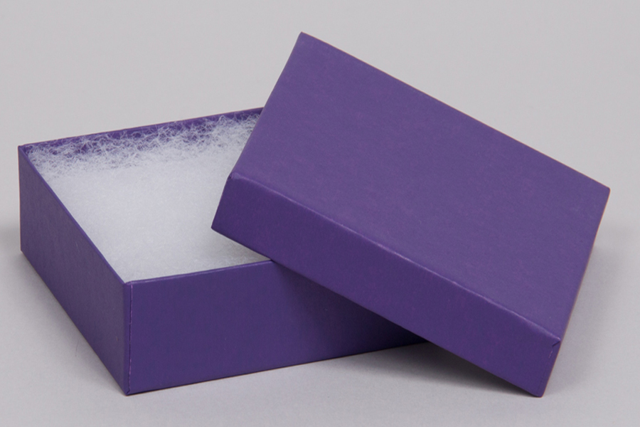 (#33D) 3-1/2 x 3-1/2 x 1-1/2 MATTE DEEP PURPLE JEWELRY BOXES