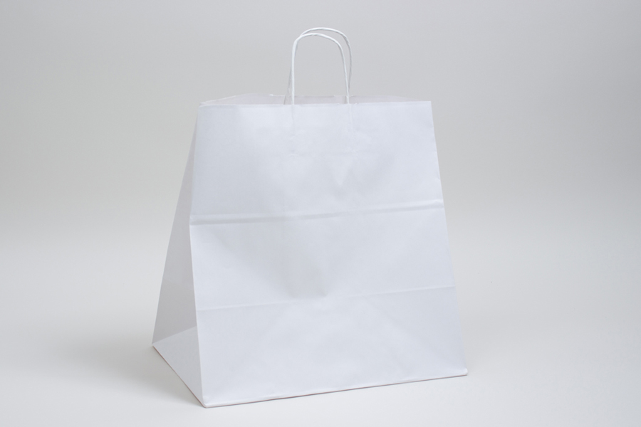 14 x 10 x 15.75 WHITE KRAFT PAPER SHOPPING BAGS