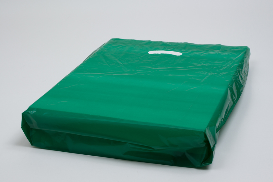 18 x 18 x 4 DARK GREEN SUPER GLOSS PLASTIC BAGS