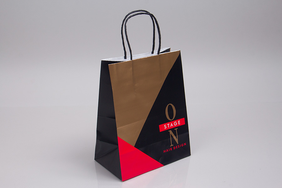 Custom printed paper shopping bag with black twisted paper handles.