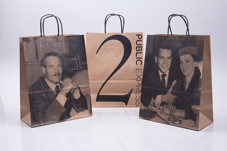 Custom printed paper shopping bags with twisted paper handles