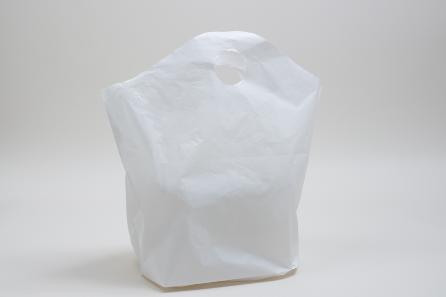 19 x 19 x 10 WHITE PLASTIC WAVETOP TAKEOUT BAGS WITH DIE-CUT HANDLES
