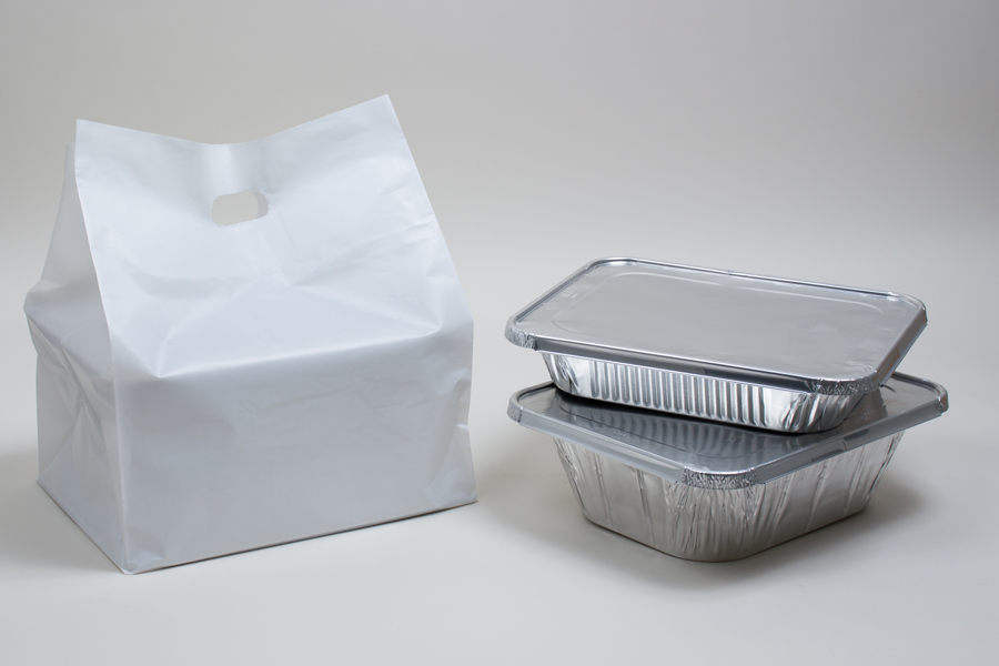 13x10x15 ECONOMY PLASTIC TAKEOUT BAGS WITH DIE-CUT HANDLES