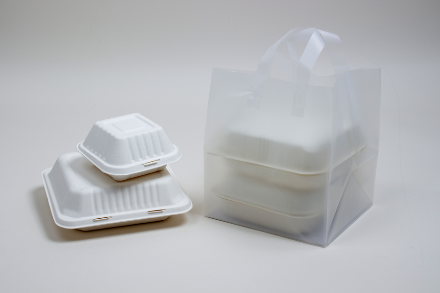 9x8x10 FROSTED CLEAR PLASTIC TAKEOUT BAGS WITH SOFT LOOP HANDLES