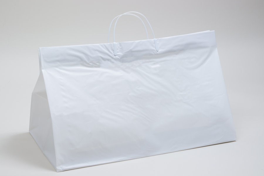 19x10x12 WHITE PLASTIC CATERING BAGS WITH CLIP LOOP HANDLES
