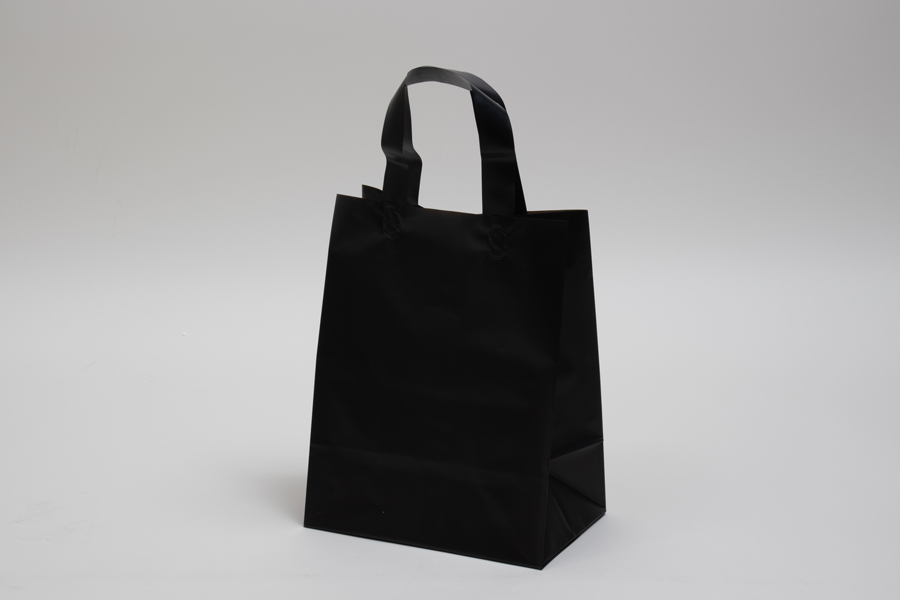 8 x 5 x 10 BLACK FROSTED LOOP-HANDLE PLASTIC BAGS - 4 mil