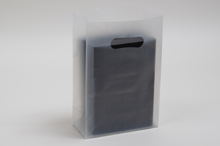 7 x 3.5 x 10.5 CLEAR FROSTED PLASTIC TOTE BAGS - 3.5 mil