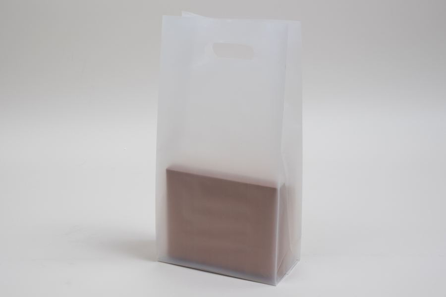 7.75 x 3.5 x 15 CLEAR FROSTED PLASTIC TOTE BAGS - 3.5 mil