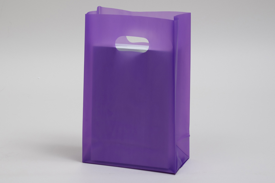 7 x 3.5 x 10.5 GRAPE FROSTED PLASTIC TOTE BAGS