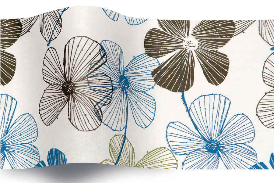 20 x 30 SATINWRAP TISSUE PAPER - FLORAL LINES