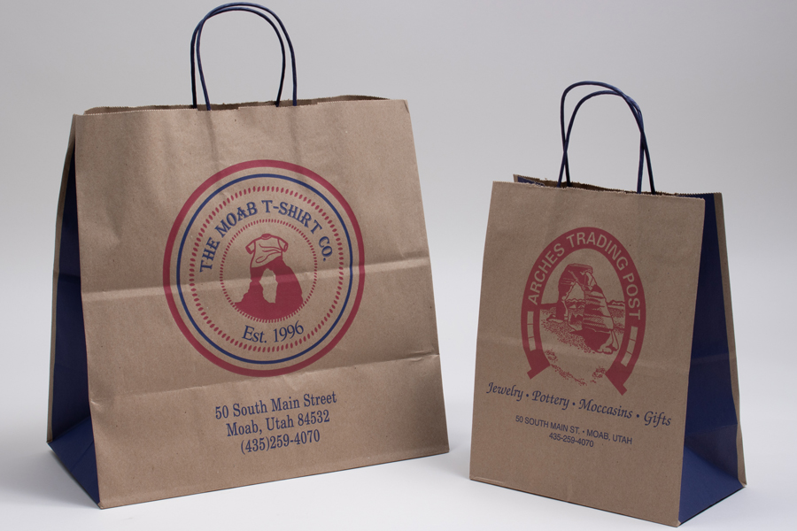 Custom printed natural kraft paper shopping bags - Arches Trading Post