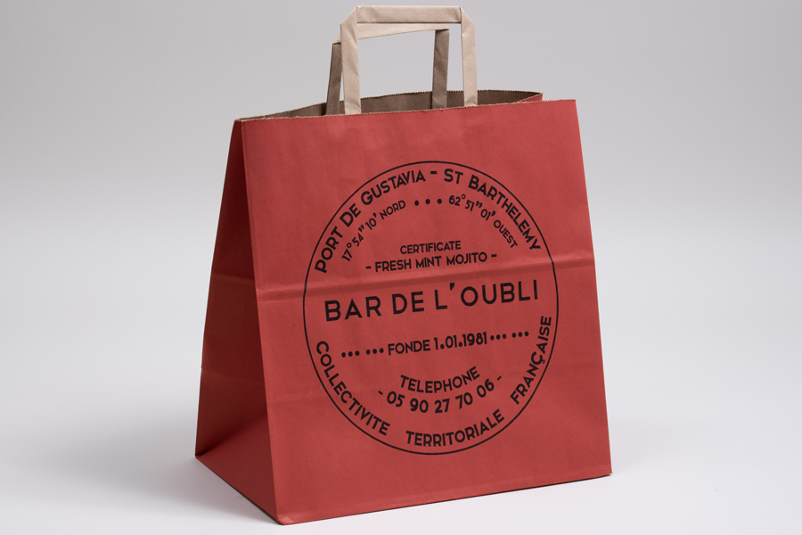 Custom printed natural kraft paper shopping bags - Bar De L'oubli