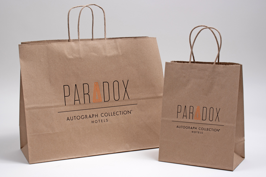 Custom printed natural kraft paper shopping bags - Soup De Jour