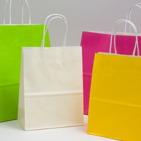 Bright Color Tinted Paper Shopping Bags